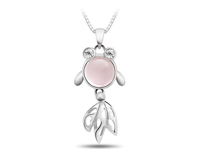 T400 Rose Quartz Sterling Silver Pendant Necklace