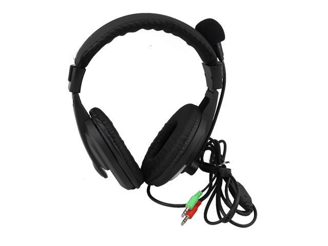 Black New stereo 3.5mm headset earphone for PC Desktop Laptop with Microphone
