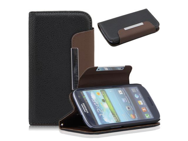 Black Litchi Pattern PU Leather Wallet Flip Pouch Stand Case Cover for Samsung Galaxy S3 i9300