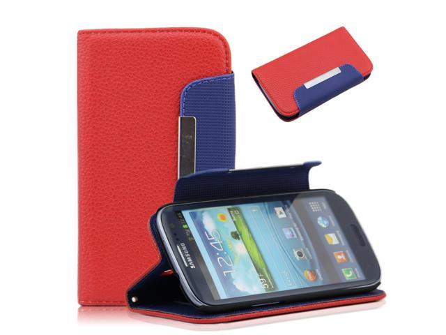 Red Litchi Pattern PU Leather Wallet  Flip Pouch Stand Case Cover for Samsung Galaxy S3 i9300