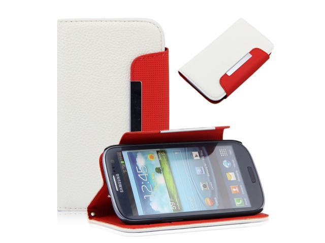 White Litchi Pattern  PU Leather Wallet Flip Pouch Stand Case Cover for Samsung Galaxy S3 i9300