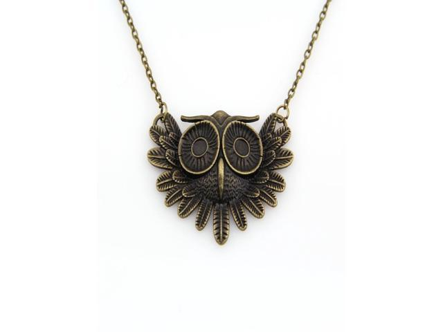 Fashionable Xmas Gift Vintage Owl Necklace Long Pattern Necklace