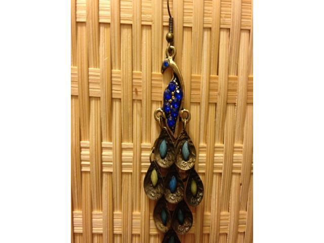 Retro Vintage Style Tail Dangle Rhinestone Peacock Teardrop  Earrings