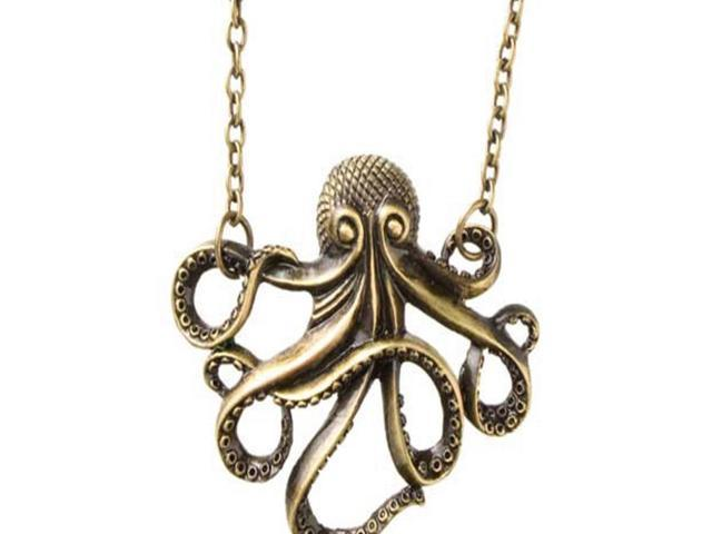 Vintage Bronze Steampunk Nautical Style Octopus Long Pendant Chain Necklace