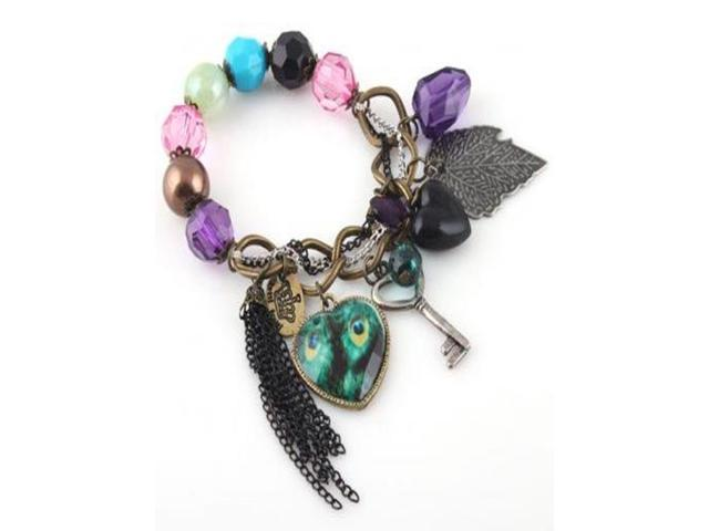 Vintage Charm Bracelet with Peacock Heart Beads Key Leaf Crown Jewelry