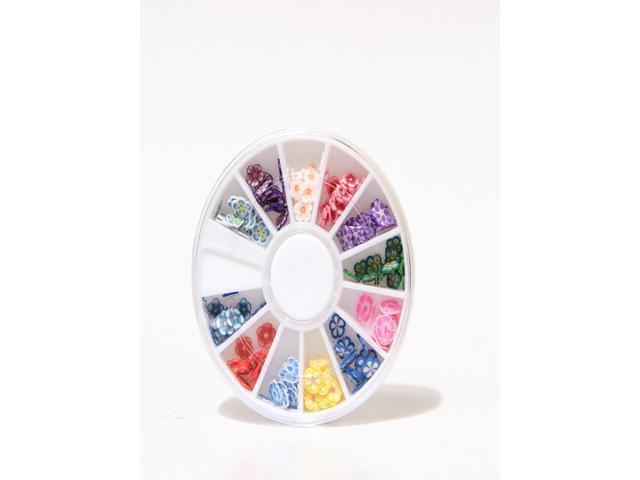 12 Colors 3D Flower Shaped Nail Art Fimo Slices Decal Pieces Decoration