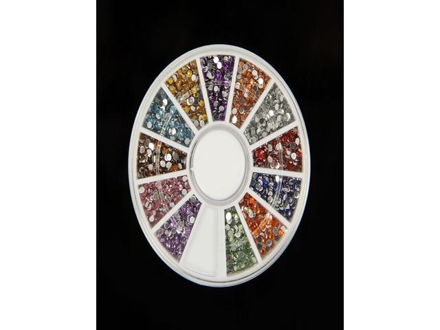1800 1.5mm Mixed - Color Gems Nail Art Rhinestone Glitter Tips Wheel