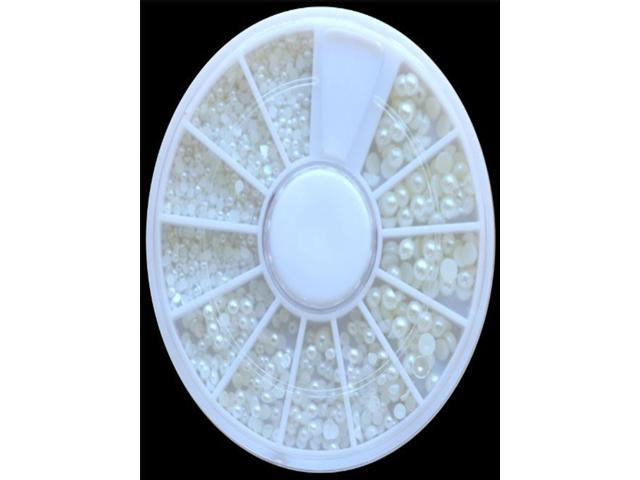 500 White Pearl Nail Art Stone Different Size Wheel Rhinestones Beads