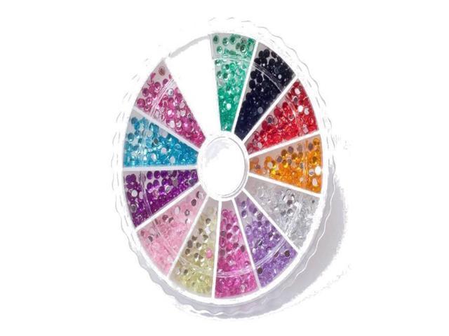 1200 2mm 12 Colors Round Shaped Gems Nail Art Rhinestone Glitter Tips Wheel