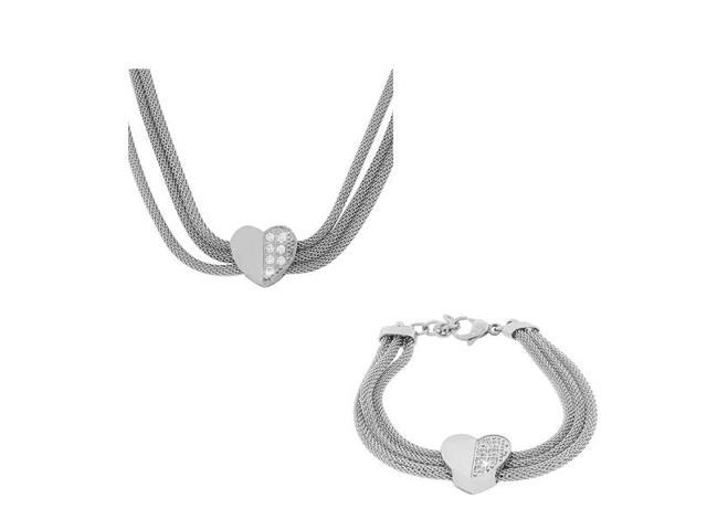 Stainless Steel Silver-Tone Love Heart Mesh Bracelet Necklace Set