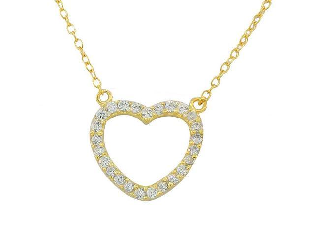 925 Sterling Silver Yellow Gold-Tone Love Heart Charm White CZ Pendant Necklace