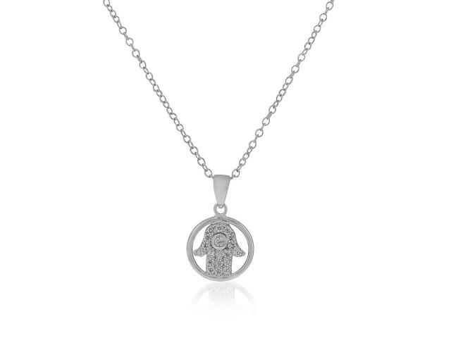 925 Sterling Silver Evil Eye Hamsa White CZ Womens Pendant Necklace, 18