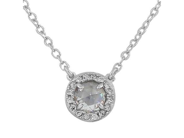 925 Sterling Silver Small Clear White CZ Pendant Necklace with Chain