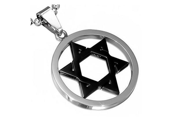 Stainless Steel Silver-Tone Black Jewish Star of David Charm Pendant Necklace with Chain, 24