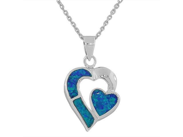 925 Sterling Silver Blue Turquoise-Tone Simulated Opal Love Heart Pendant Necklace