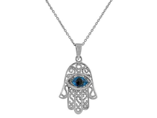 925 Sterling Silver Evil Eye Hamsa White Blue CZ Filigree Womens Pendant Necklace