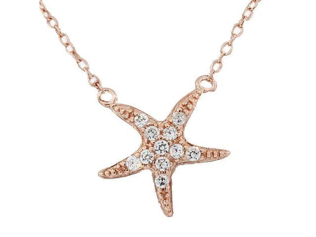 925 Sterling Silver Rose Gold-Tone Starfish Charm White CZ Pendant Necklace