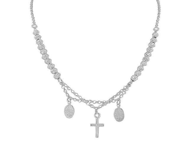 925 Sterling Silver Religious Latin Cross Virgin Mary Christian Necklace Chain