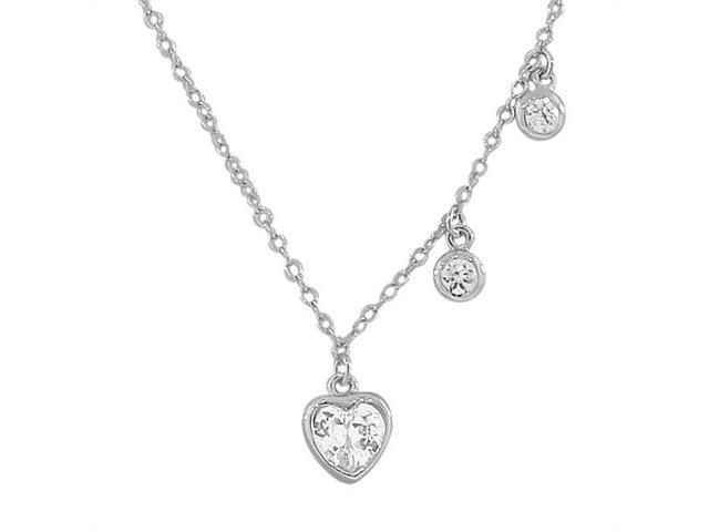 925 Sterling Silver Love Heart CZ Pendant Necklace with Chain
