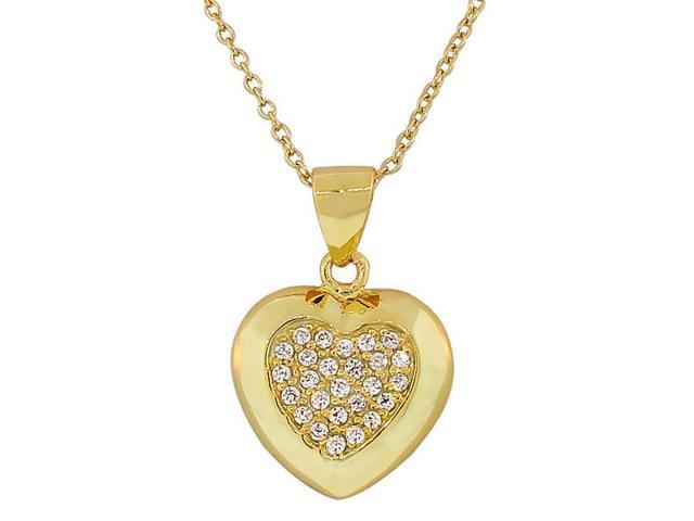 925 Sterling Silver Yellow Gold-Tone Love Heart White CZ Pendant Necklace