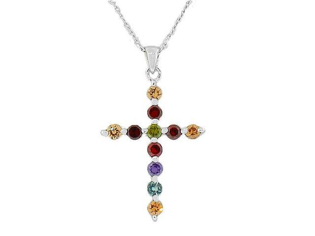925 Sterling Silver Religious Cross Multicolor CZ Pendant Necklace