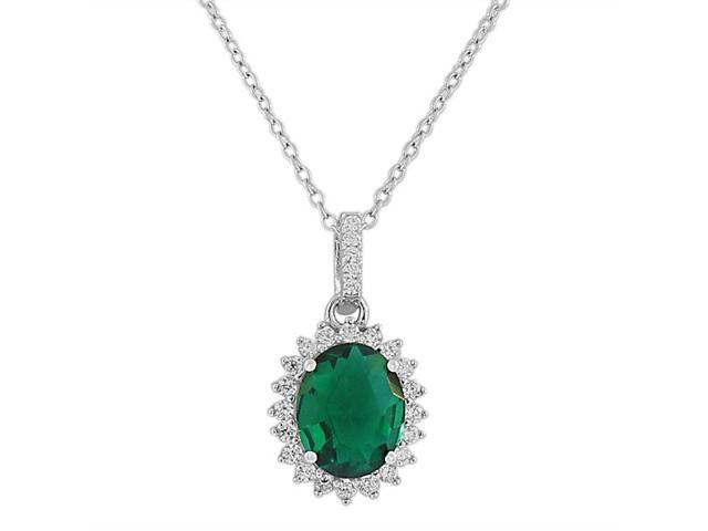 925 Sterling Silver Green White CZ Oval Charm Womens Pendant Necklace
