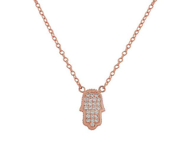 925 Sterling Silver Rose Gold-Tone Evil Eye Hamsa White CZ Womens Pendant Necklace