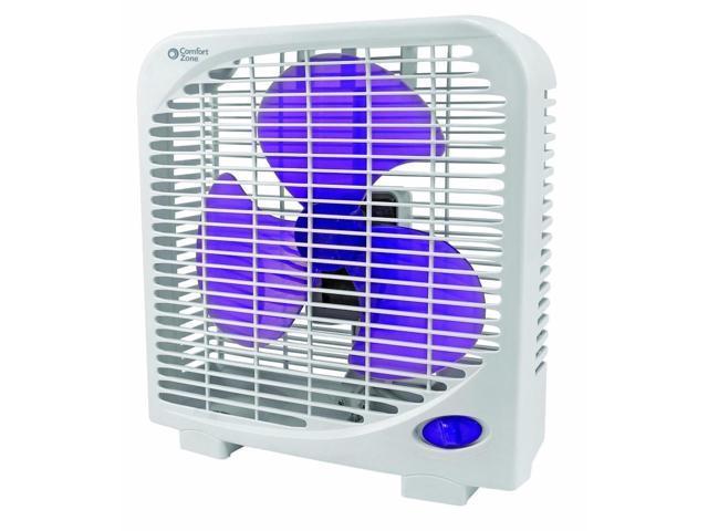 Comfort Zone Box Fan : Comfort zone cz bas white quot box fan speed front