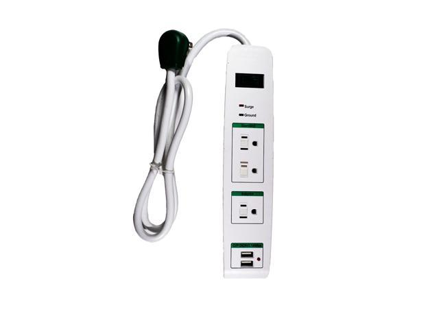 go green power gg 13103usb 3 outlet surge protector with 2 usb ports and 3 39 foot extension cord. Black Bedroom Furniture Sets. Home Design Ideas