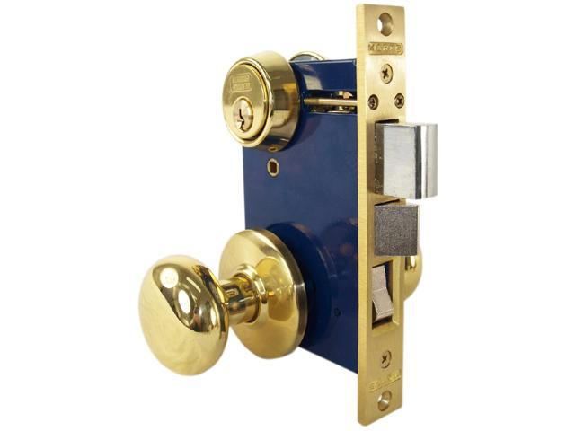 Marks 22AC/3-W-LHR, Polished Brass, Left Hand, Ornamental Knobe Rose Mortise Entry Lockset Iron Gate Door Double Cylinder Lock Set, 2-1/2