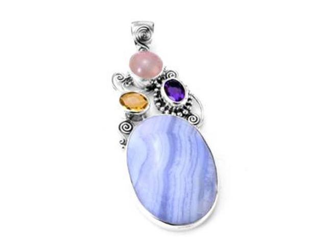 Sterling Silver .925 Pendant with Blue Lace Agate, Amethyst, Citrine and Rose Quartz