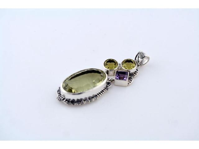 Sterling Silver .925 Faceted Lemon Quartz Pendant with Amethyst