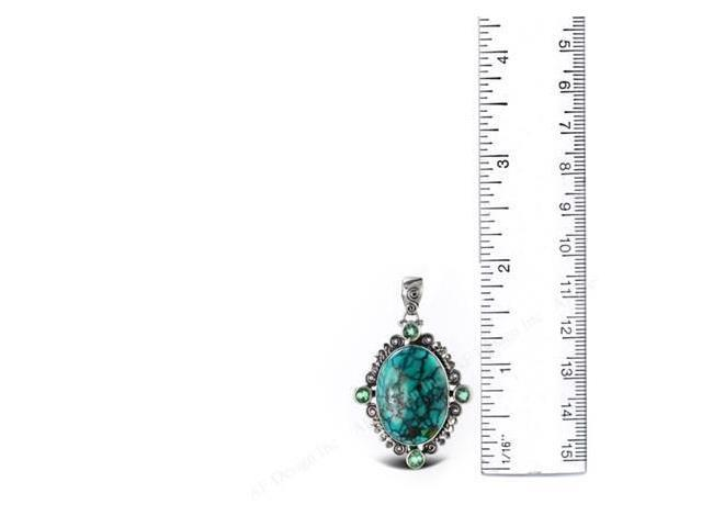 Sterling Silver .925 Pendant with oval Turquoise Green Quartz