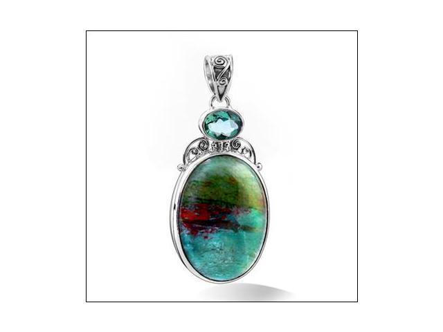 Sterling Silver .925 Pendant with Oval Jasper Rutilated