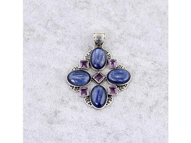 Sterling Silver .925 Pendant with Oval Kyanite Square Amethyst