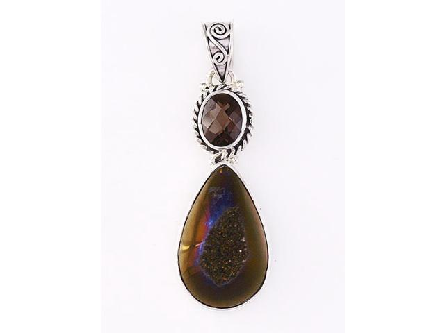 Sterling Silver .925 Pendant with Chocolate Brown Drusy Smokey Quartz