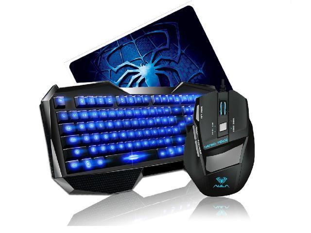 Promotion-AULA Blue LED Backlight Multimedia USB Gaming Keyboard + 2000 DPI Ergonomic Gaming Mouse + Mouse Pad Set