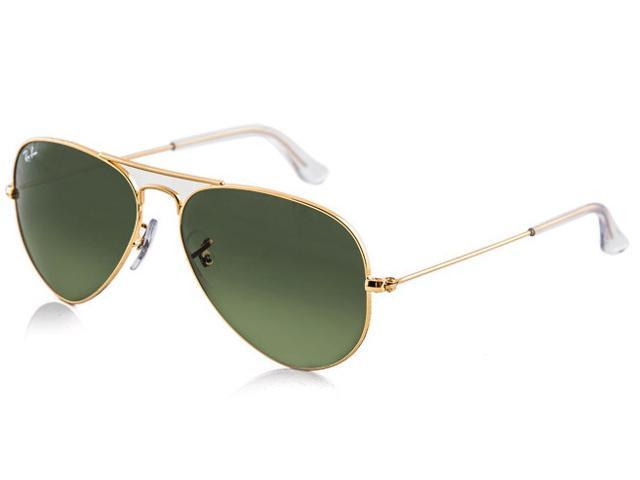 ray ban rb3025 iconic black glass  ray ban rb3025 aviator metal classic sunglasses gold frame/dark green lenses (58mm