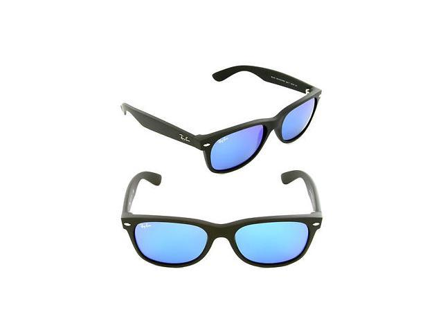 Ray Ban New Wayfarer Flash Sunglasses - Matte Black Frame / Blue Lenses RB2132 622/