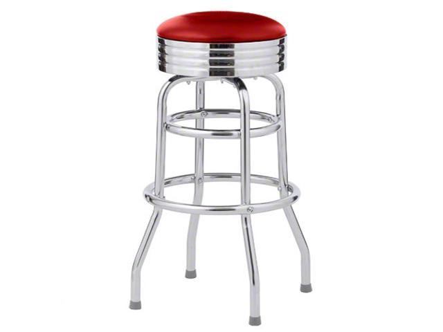 2 Bar Stools, Red Classic 1950's Diner, Double Ring Assembled