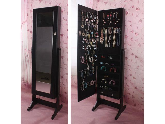 BTEXPERT Premium Wooden Jewelry Armoire Cabinet Cheval Mirror box