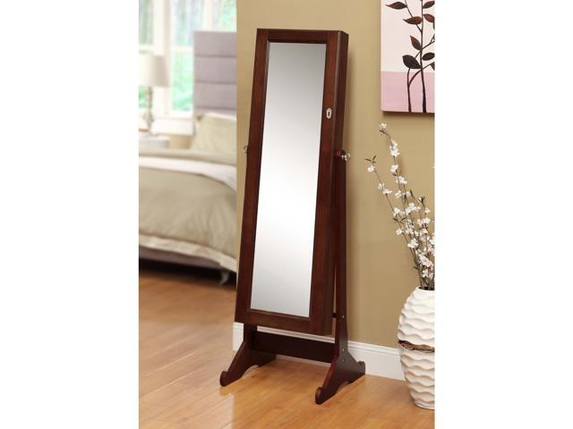 Premium cherry jewelry cabinet armoire shelves storage for Full length mirror with shelf