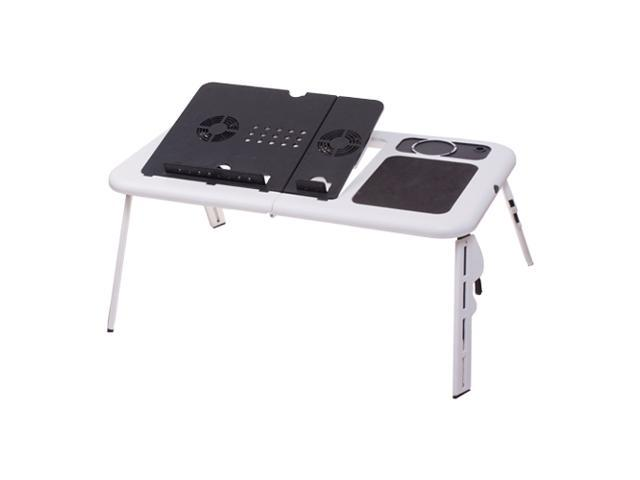 Adjustable Portable Laptop USB Folding Table W/ 2 Cooling Fan + Mouse Pad New