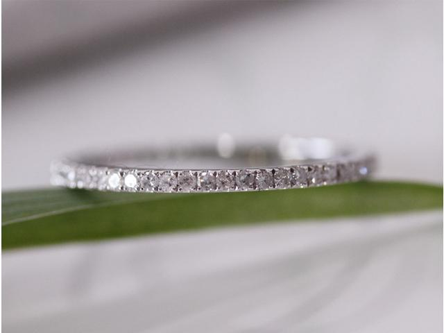 14K Yellow Gold Pave Diamonds Engagement Wedding Eternity Band Ring Thin Design!