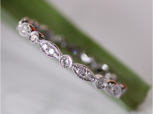 FULL Eternity Band MILGRAIN Bezel .32ct Diamond Real 14K White Gold Wedding Ring