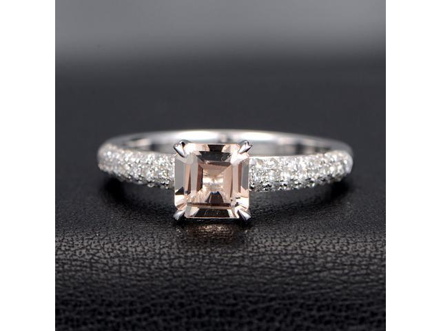 Morganite Engagement Ring and Diamonds,Asscher Cut,Claw Prongs,14K White Gold