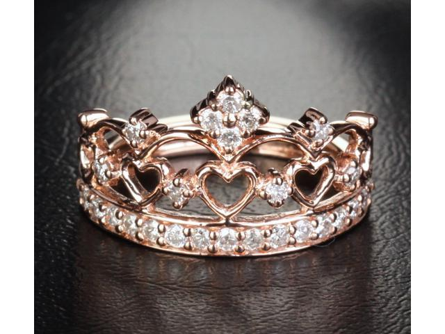 Heart Crown .57ct Diamond 14k Rose Gold Engagement Wedding Band Anniversary Ring