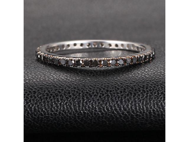 BLACK Micro Pave .60ct Diamonds 14K White Gold Wedding Band Full Eternity Ring