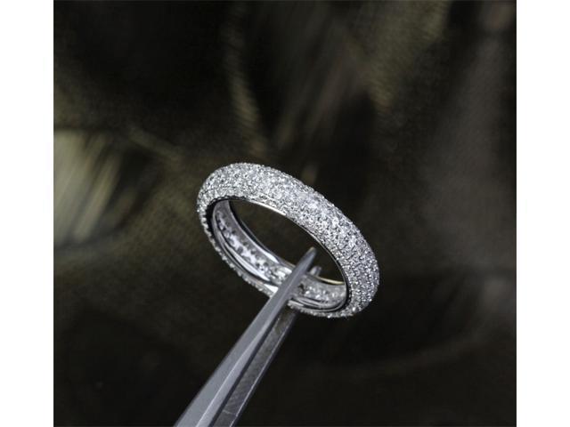 Full Eternity band Pave 1.55ctw Diamonds 14K White Gold Wedding Anniversary Ring