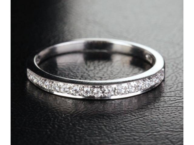 Gorgeous .21ctw Diamonds 14k White Gold Wedding Eternity Band Anniversary Ring